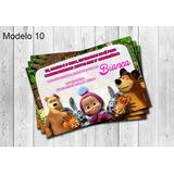 50 Convites Masha E O Urso Personalizados