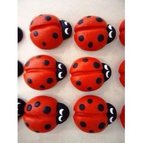 90 Mini Joaninhas De Biscuit 1,5 Cm Para Aplique