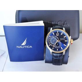 Reloj Nautica Nai16501g Piel,fechador,nuevo Y Original