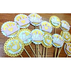 12 Topper Cupcake / Pinchos Gomitas Cumple Coronas Princesas