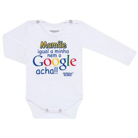 Body Longo Para Bebe Em Suedine Google Mamãe - Primeiras Pal