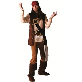 Fantasia Jack Sparrow Pirata De Luxo Adulto Bandana C/peruca