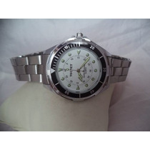 Relógio Tecnet Branco Masculino Pulseira Aço Inox