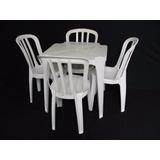 3 Jogos De Mesa Com 12 Cadeiras Brancas Plástico Empilháveis