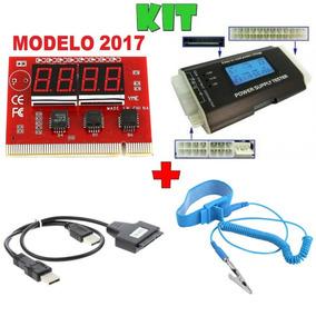 Kit Placa De Teste + Teste Fonte + Conversor Sata + Pulseira