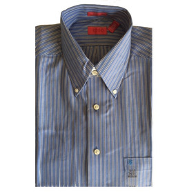 Camisa Social Masculina Azul Listrada Izod Tam M