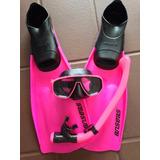 Madiving Mascara Snorkel Valvula Nadadeiras Seasub Rosa