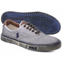 Tênis Polo Sneaker Masculino Branco E Azul Manchado