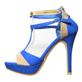 Zapato Vip Sandalia Fucsia Azul Fiesta Taco Fino ¡hot Sale!