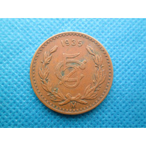 Moeda Antiga Do Mexico 5 Centavos 1935 Bronze Rara