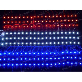 Kit 10 X Módulos De 3 Led 5050 12 V Ip65 Blanco,azul,rojo