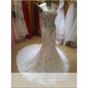 Vestido De Noiva Sereia Luxo Brilhante