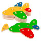Brinquedo Pedagógico Montessori Troque Encaixe Avião 16 Pçs