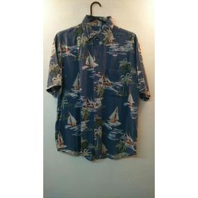 Camisa Hawaiana Azul Barcos Con Olas