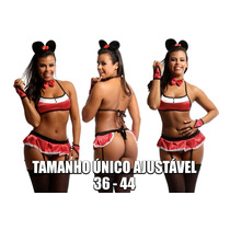 Fantasia Lingerie Espartilho Minnie Mickey Sensual Sexy
