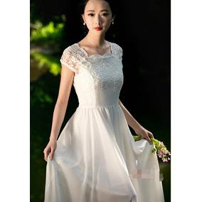 Precioso Vestido Novia Maravilloso Canesú Encaje Faldón Gasa