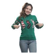 Suéter Ugly Sweater Verde Botas Navideñas Navideño Mujer