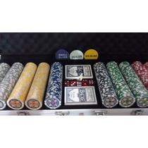 Maleta Poker Profissional 500 Fichas Holográfica Numerada