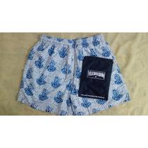 Short Original Vilebrequin Cor Branca Com Azul Tamanho Xl.