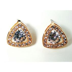 Aretes De Oro 24k Lam. Con Zirconia Calidad Diamante.