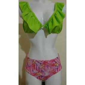 Vestido De Baño Dos Piezas Color Verde Tipo Bolero