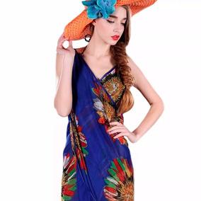 Pareo Tipo Vestido Unitalla Floreado Color Azul M6205