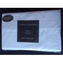 Lençol 800 Fios Marca Sterling Manor Importado Branco Queen