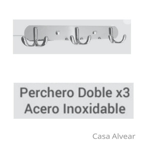 Colgador Perchero Triple De Pared Con 2 Ganchos De Ac Inox