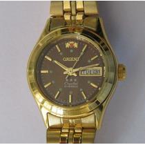 Relógio Pulso Orient Automático Feminino Folhado A Ouro Fnt9