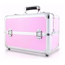 Maleta Maquiagem Profissional Grande Vazia Aluminio Rosa