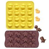 Pato De Silicona De Grado Alimentario Y Dinosaurio Chocolate