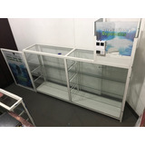 Vitrina Exhibidor Grande 2 Metros Aluminio Blanco Y Vidrio