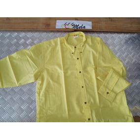 Camisas De Hombre M/ Larga En Algodon Egipcio Amarillo T-xl