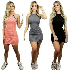 Vestido Curto Feminino Com Listras 3d Decote Colado Promoção