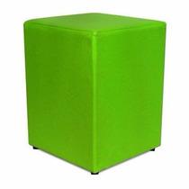 Puff Quadrado Em Courino - Cor Verde