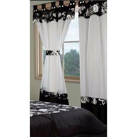 juego de cortinas ad paos combinada corintia blaco negro