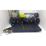 Playstation 2 Com Leitor Novo+ 2 Controles+ Jogos+garantia!