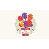 Painel Festa 3,00x1,70mt Feliz Aniversário Balões Coloridos