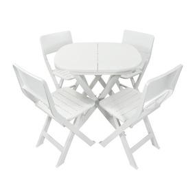 Jogo 1 Mesa 4 Cadeiras Dobrável Frete Envio Full +brinde