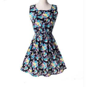 Vestido Corto De Flores Negrocombinado Elegante Envio Gratis