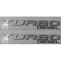 Dois Adesivos Turbo Diesel F-250 Ford Prata Preto + Brinde