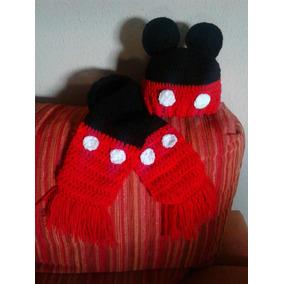 Conjunto Gorro Y Bufanda Tejida A Crochet, Personejes Animal
