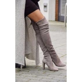 Botas Fashion Grises Largas Tacon Mujer Winter Autumn Slip-o
