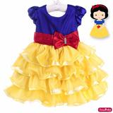 Vestido Festa Infantil Branca De Neve Babados Bambina 1 A 3