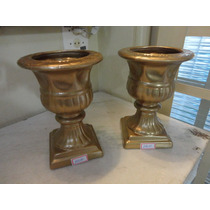 #14010 - Par Vasos Romanos Porcelana Esmaltada, Dourado!!!