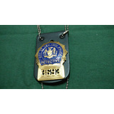 Placa Policia Nueva York Detective Con Holder Liso.