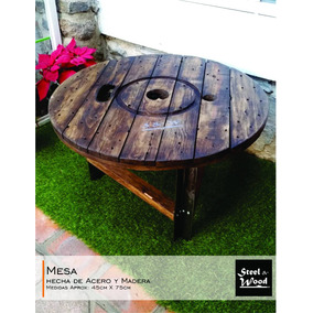 Mesa Para Exterior, Ideal Para Jardin... Madera Y Acero
