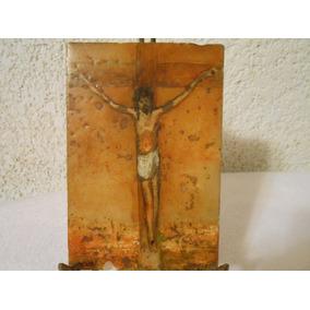 Oleo Sobre Marmol Cristo Crucificado Firmado Y Fechado 73