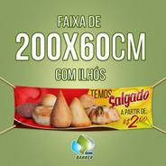 Faixa Em Lona Com Ilhos - 200x60cm-salgados, Pastel, Lanches