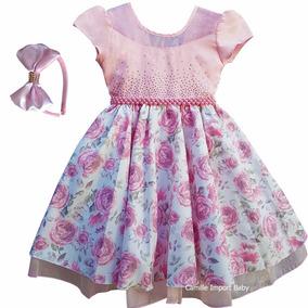 Vestido Festa Infantil Floral Princesa Luxo E Tiara 4 Ao 16